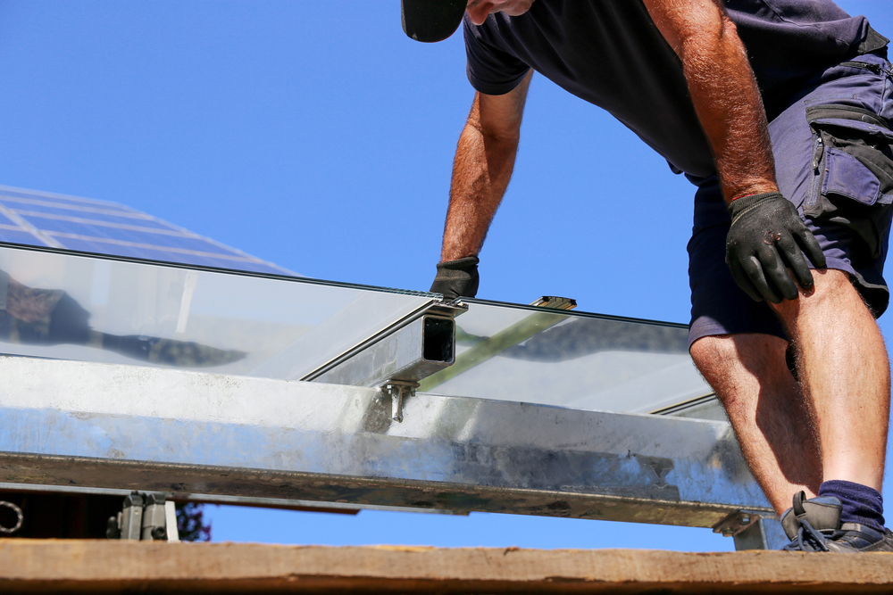 Einbau eines Glasdaches für die Terrasse